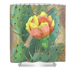 Shower Curtain featuring the painting Prickly Pear Cactus Bloom by Diane McClary