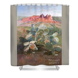 Shower Curtain featuring the painting Prickly Pear In Sedona, Arizona by Nancy Lee Moran
