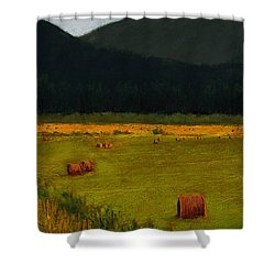 Priest Lake Hay Bales Shower Curtain by David Patterson