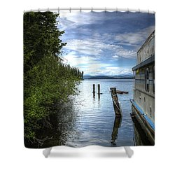 Priest Lake Houseboat 7001 Shower Curtain by Jerry Sodorff