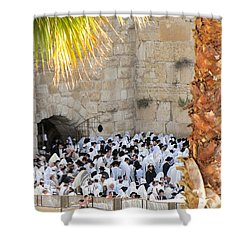 Shower Curtain featuring the photograph Prayer Of Shaharit At The Kotel During Sukkot Festival by Yoel Koskas