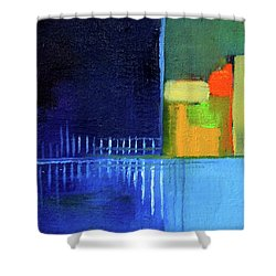 Primary Blue Abstract Shower Curtain by Nancy Merkle