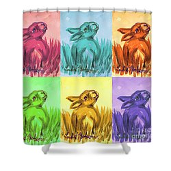 Primary Bunnies Shower Curtain