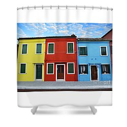 Primary Colors Too Burano Italy Shower Curtain