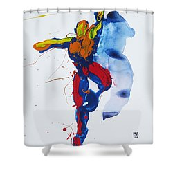 Shower Curtain featuring the painting Primary Vertical Jump Shadow by Shungaboy X