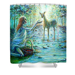 Shower Curtain featuring the painting Primavera Forest Of New Life by Heather Calderon