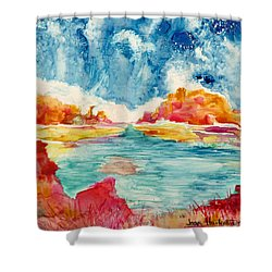 Primordial Landscape Shower Curtain