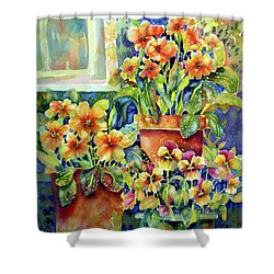 Primroses And Pansies II Shower Curtain