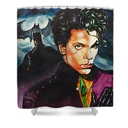 Shower Curtain featuring the painting  Prince Batdance by Darryl Matthews