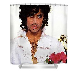 Prince Distorted Shower Curtain by Val Oconnor