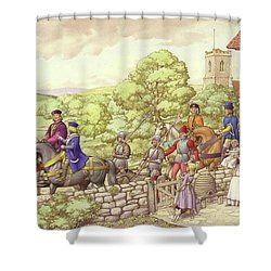 Prince Edward Riding From Ludlow To London Shower Curtain by Pat Nicolle
