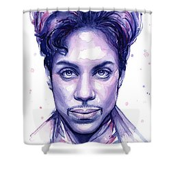 Prince Purple Watercolor Shower Curtain by Olga Shvartsur