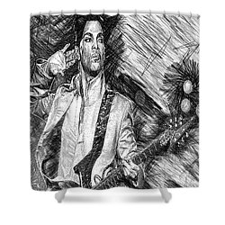 Prince - Tribute With Guitar In Black And White Shower Curtain