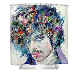 Prince - Watercolor Portrait Shower Curtain by Fabrizio Cassetta