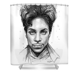 Prince Watercolor Portrait Shower Curtain