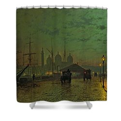 Prince's Dock Hull Shower Curtain by John Atkinson Grimshaw