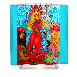 Shower Curtain featuring the painting Princess Countrywoman. by Don Pedro De Gracia