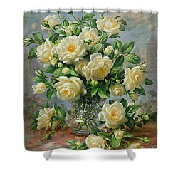 Princess Diana Roses In A Cut Glass Vase Shower Curtain by Albert Williams