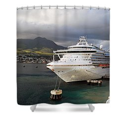 Princess Emerald Docked At Barbados Shower Curtain