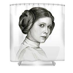 Princess Leia Watercolor Portrait Shower Curtain