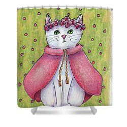 Shower Curtain featuring the drawing Princess by Terry Taylor