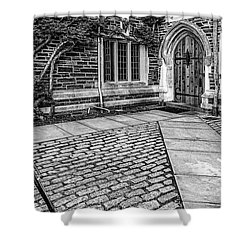 Shower Curtain featuring the photograph Princeton University Foulke Hall Bw by Susan Candelario