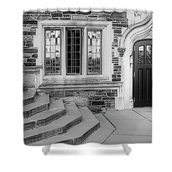 Shower Curtain featuring the photograph Princeton University Lockhart Hall Bw by Susan Candelario