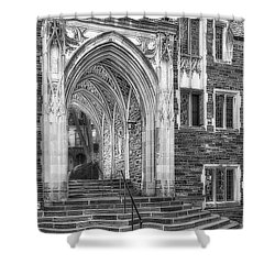 Shower Curtain featuring the photograph Princeton University Lockhart Hall Dorms Bw by Susan Candelario