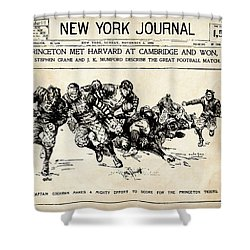 Shower Curtain featuring the mixed media Princeton Vs Harvard - New York Journal 1896 by Daniel Hagerman