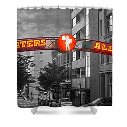 Printers Alley Sign Shower Curtain by Robert Hebert
