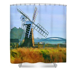 Shower Curtain featuring the photograph Priory Windmill by Valerie Anne Kelly