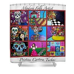 Prisarts Paintings Shower Curtain by Pristine Cartera Turkus