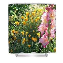 Priscilla With Poppies Shower Curtain