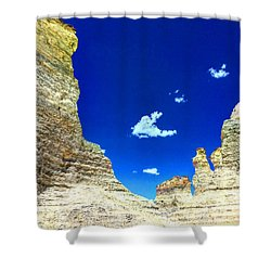 Pristine Sky Meets Historic Rocks Shower Curtain