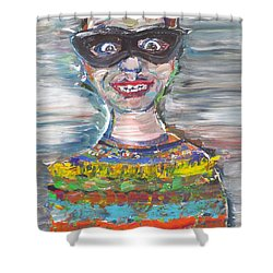 Shower Curtain featuring the painting Probably Reincarnated by Fabrizio Cassetta
