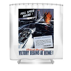 Produce For Your Navy Shower Curtain by War Is Hell Store