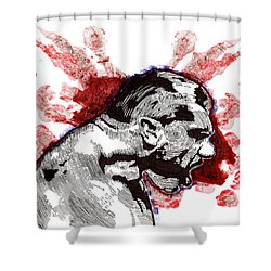 Profile With Fireworks Shower Curtain