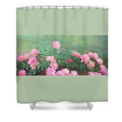 Shower Curtain featuring the mixed media Profuse Peony Blossoms by Nancy Lee Moran