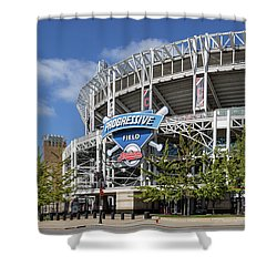 Shower Curtain featuring the photograph Progressive Field In Cleveland Ohio by Dale Kincaid