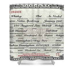 Shower Curtain featuring the photograph Prohibition Prescription Certificate Carrie Nation Speakeasy by David Patterson