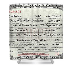 Shower Curtain featuring the photograph Prohibition Prescription Certificate Krazy Kat Klub by David Patterson