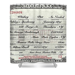 Shower Curtain featuring the photograph Prohibition Prescription Certificate Speakeasy by David Patterson
