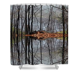Projecting Contentment Shower Curtain