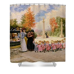 Promenade Des Enfants  Shower Curtain by Timoleon Marie Lobrichon