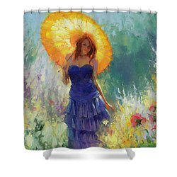 Shower Curtain featuring the painting Promenade by Steve Henderson
