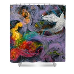 Prophetic Message Sketch Painting 10 Divine Pattern Dove Shower Curtain by Anne Cameron Cutri