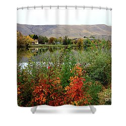 Prosser Autumn River With Hills Shower Curtain by Carol Groenen