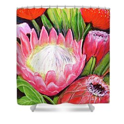 Protea Flowers #240 Shower Curtain by Donald k Hall