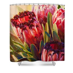 Shower Curtain featuring the painting Protea - Tropical Flowers From Hawaii by Karen Whitworth