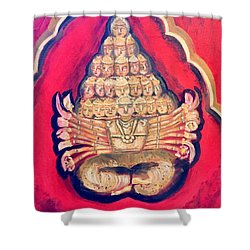 Shower Curtain featuring the painting Protector by Brindha Naveen